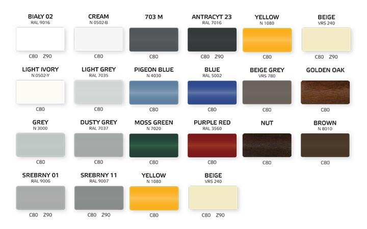 Żaluzje fasadowe Krispol kolory
